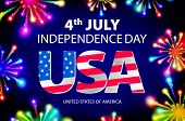 Постер, плакат: Fireworks Background For 4Th Of July Independense Day Fourth Of July Independence Day Card Indepen