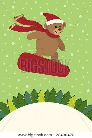 Teddy Bear Snowboarding