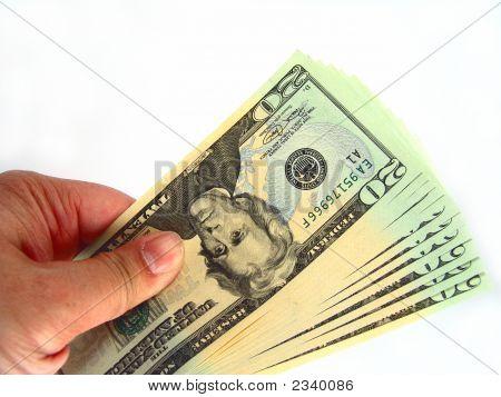 Uns zwanzig Dollar-Scheine & Hand