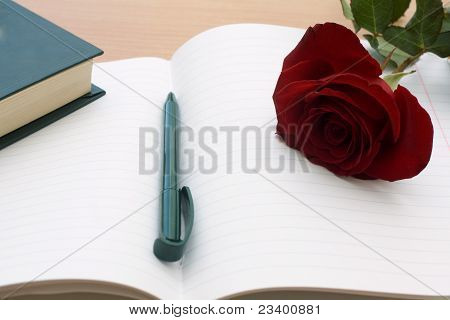 Notebook And Rose