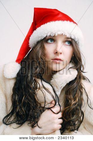 Junge Model In Santa Claus Hut