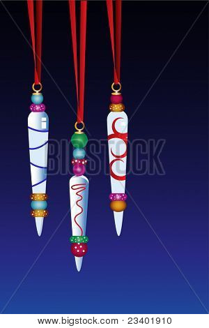 Glass icicle  decorations