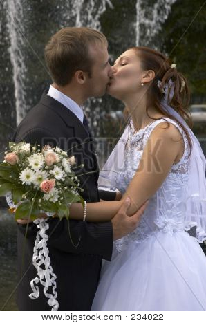 Tender Wedding Kiss