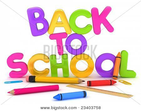 3D Illustration of Back to School Items