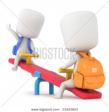 3D Illustration of Kids Playing Seesaw