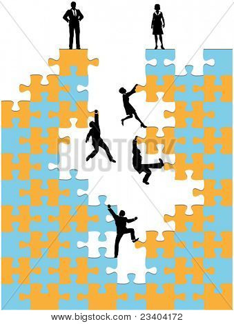 Company of business people climb up corporate success promotion jigsaw puzzle