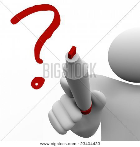 A person draws a question mark on a glass board with a red marker symbolizing his confusion and to ask about a problem or issue