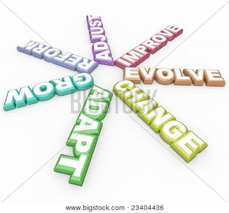 Several words having to do with changing -- change, adapt, reform, adjust, grow and evolve -- symbolize the need to make changes to succeed in a career and in life