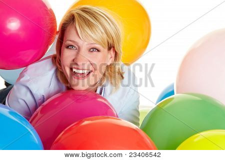 Woman Celebrating With Balloons