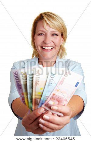 Happy Woman With Euro Mony Bills