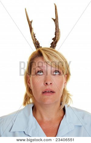 Woman With Antlers On Her Head