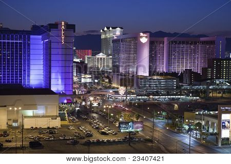 LAS VEGAS, NEVADA - Sept 7: Ballys, Caesars Palace and the Flamingo Resorts on the strip. Vegas has 147,611 hotel rooms with a average daily rate of $106 on September 7, 2011 in Las Vegas, Nevada.