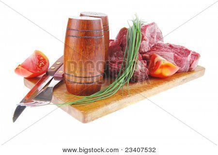 Hauptgericht: frisches Rindersteak auf vorbereiten, Schneiden mit Besteck und Nachlauf