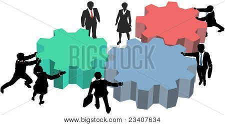 Business people silhouettes push gears together to form a technology plan