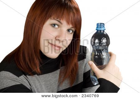 Redhead Girl Holding Water Bottle