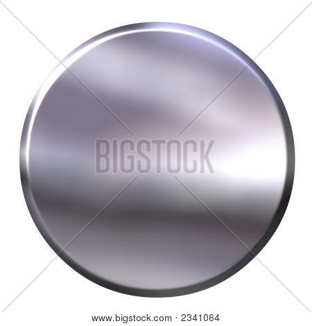 3D Silver Button