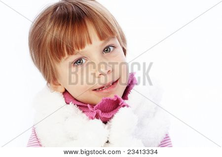 Fashion little girl studio series over white