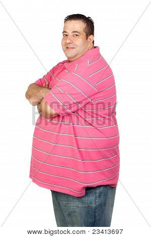 Worried Fat Man With Pink Shirt