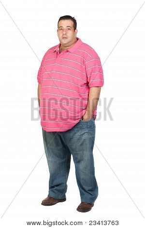 Fat Man With Pink Shirt
