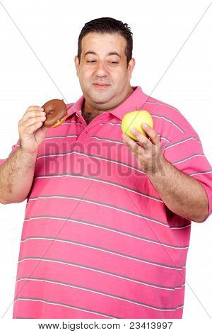 Fat Man Deciding Between A Candy And An Apple