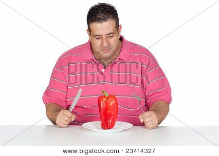 Fat Man Eating A Red Pepper