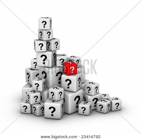 pilha de cubos com pontos de interrogação