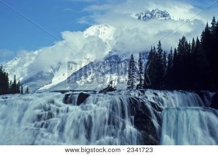 Scenic-Mountains And Waterfall In Banff National Park