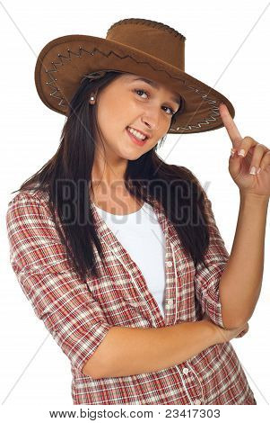 Happy Cowgirl With Brown Hat