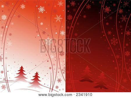 Red Winter Background With Snowflakes - Day And Night