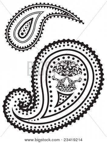 Illustration of paisley pattern with skull