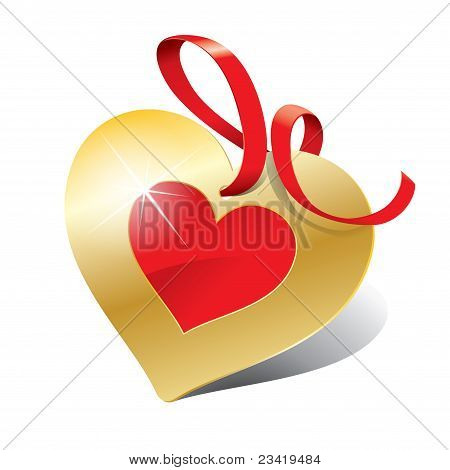 Icon In The Form Of Golden Heart With Ribbon For Themes Like Love, Valentine's Day, Holidays.