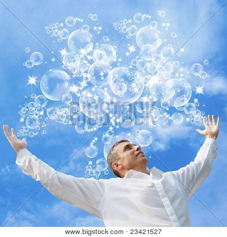 Easy happy life as flying soap bubbles