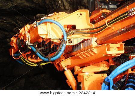 Heavy Mine Driller Machine In A Gold Mine