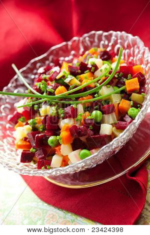 Salad with beetroot,potatoes,carrots and cucumber ( Beet Salad- Vinegret)