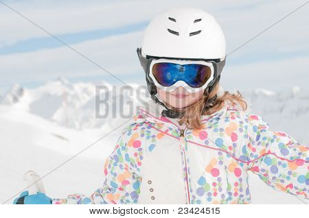 Ski, winter - little skier portrait - space for text