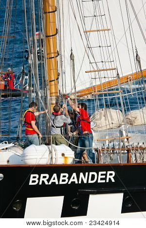 Gdynia - September 05: Sailing Vessel Brabander Setting Sails During Culture 2011 Tall Ships Regatta