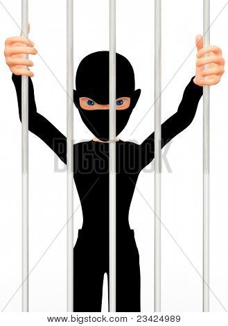3D thief in prison behind bars ? isolated over a white background