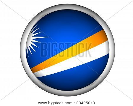 National Flag Of Marshall Islands . Button Style .