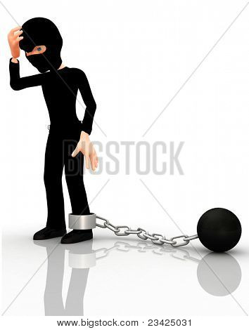 3D arrested thief with a ball and leg chain ? isolated over a white background