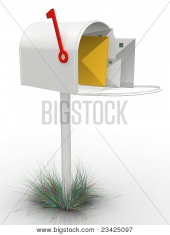 3D mailbox- isolated over a white background