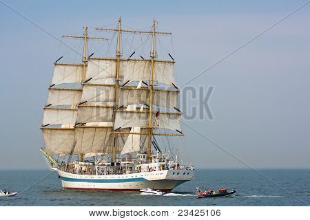 Gdynia - September 05: Tall Ship Sts Mir On Open Sea During Culture 2011 Tall Ships Regatta.20 Large