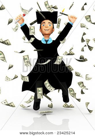 3D successful male graduate under a money rain - isolated over white