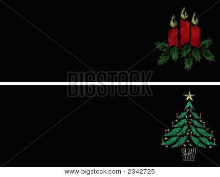 Christmas Tags In Color - Candles And Tree