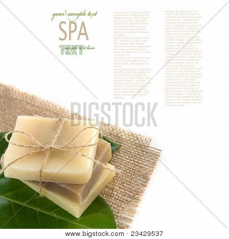 Spa wellness setting with natural soaps