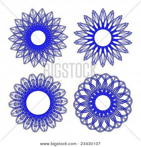 Set of guilloche rosettes