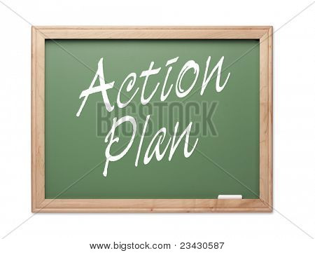 Action Plan Green Chalk Board Series on a White Background.