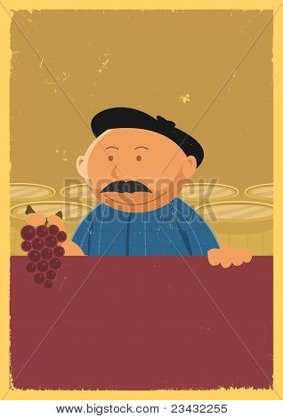 Winemaker Holding Grape Vine Poster