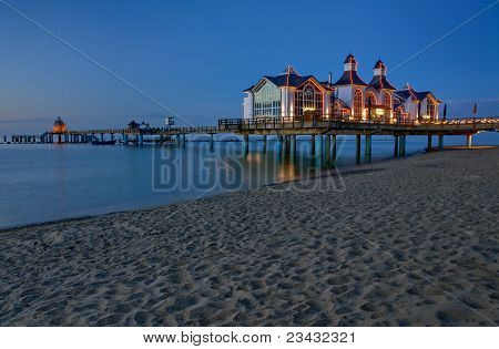 Pier with restaurant in Sellin, Baltic Sea