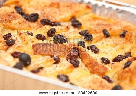 Delicious and creamy bread and butter pudding with raisins