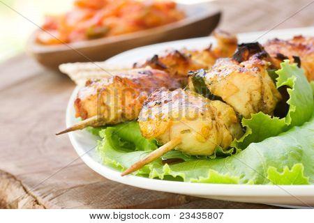 Tomato And Paprika Salsa with kebab